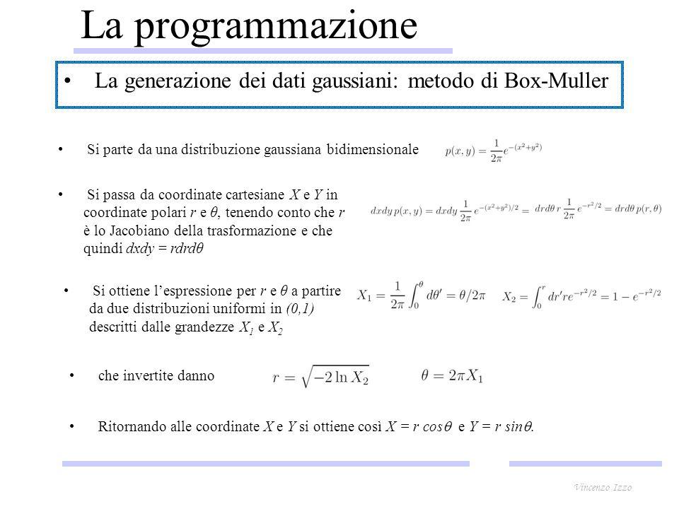 La programmazione La generazione dei dati gaussiani: metodo di Box-Muller Si parte da una distribuzione gaussiana bidimensionale Si passa da coordinate cartesiane X e Y in coordinate polari r e θ, tenendo conto che r è lo Jacobiano della trasformazione e che quindi dxdy = rdrdθ Si ottiene lespressione per r e θ a partire da due distribuzioni uniformi in (0,1) descritti dalle grandezze X 1 e X 2 che invertite danno Ritornando alle coordinate X e Y si ottiene così X = r cos e Y = r sin.