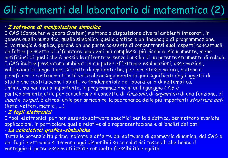 Gli strumenti del laboratorio di matematica (2) I software di manipolazione simbolica I CAS (Computer Algebra System) mettono a disposizione diversi a