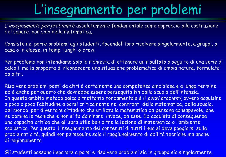 Linsegnamento per problemi Linsegnamento per problemi è assolutamente fondamentale come approccio alla costruzione del sapere, non solo nella matemati