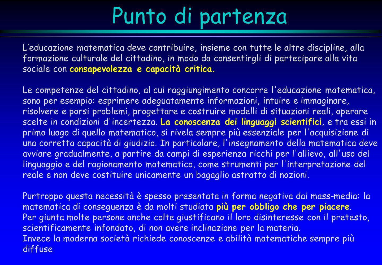 Punto di partenza Leducazione matematica deve contribuire, insieme con tutte le altre discipline, alla formazione culturale del cittadino, in modo da