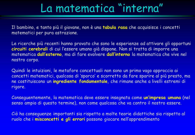 La matematica interna Il bambino, e tanto più il giovane, non è una tabula rasa che acquisisce i concetti matematici per pura astrazione. Le ricerche
