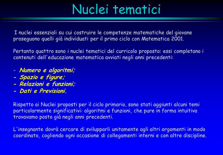 Nuclei tematici I nuclei essenziali su cui costruire le competenze matematiche del giovane proseguono quelli già individuati per il primo ciclo con Ma