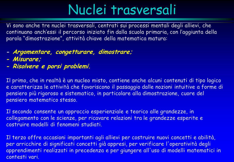 Nuclei trasversali Vi sono anche tre nuclei trasversali, centrati sui processi mentali degli allievi, che continuano anchessi il percorso iniziato fin