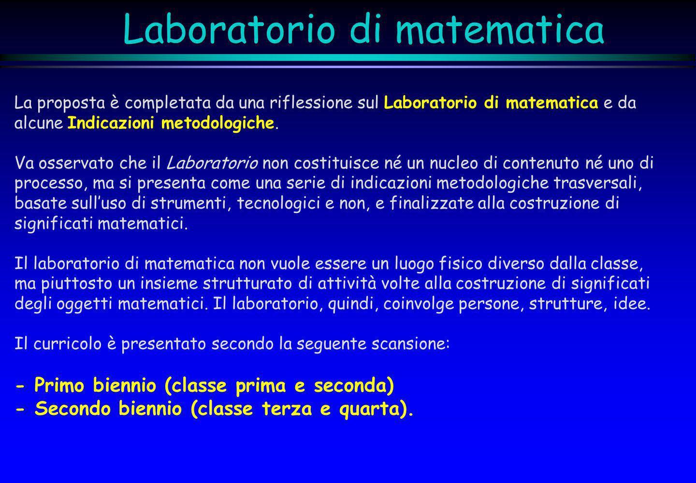 Laboratorio di matematica La proposta è completata da una riflessione sul Laboratorio di matematica e da alcune Indicazioni metodologiche. Va osservat