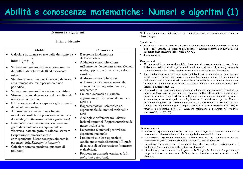 Abilità e conoscenze matematiche: Numeri e algoritmi (1)