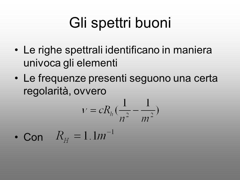 Gli spettri buoni Le righe spettrali identificano in maniera univoca gli elementi Le frequenze presenti seguono una certa regolarità, ovvero Con
