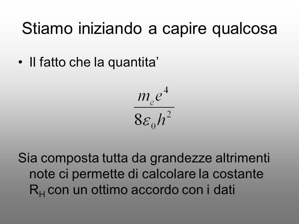 Stiamo iniziando a capire qualcosa Il fatto che la quantita Sia composta tutta da grandezze altrimenti note ci permette di calcolare la costante R H c