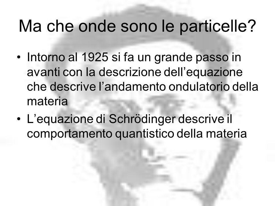 Ma che onde sono le particelle? Intorno al 1925 si fa un grande passo in avanti con la descrizione dellequazione che descrive landamento ondulatorio d
