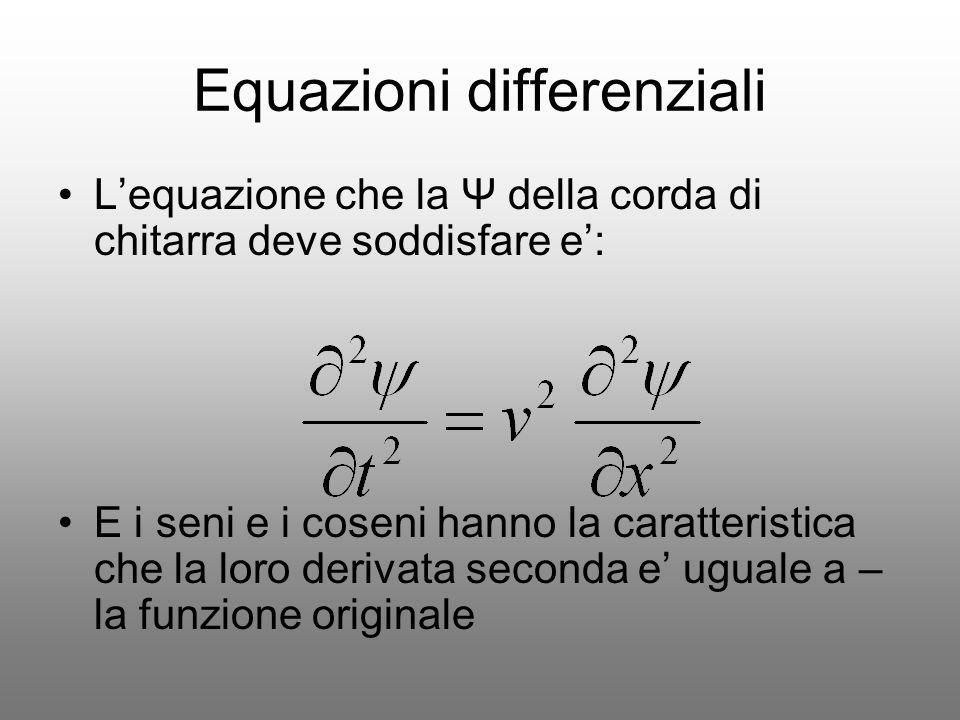 Equazioni differenziali Lequazione che la Ψ della corda di chitarra deve soddisfare e: E i seni e i coseni hanno la caratteristica che la loro derivat