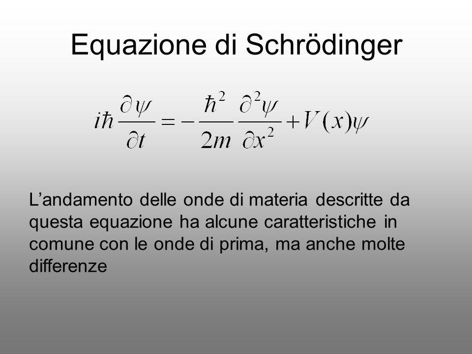 Equazione di Schrödinger Landamento delle onde di materia descritte da questa equazione ha alcune caratteristiche in comune con le onde di prima, ma a