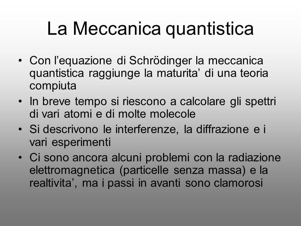 La Meccanica quantistica Con lequazione di Schrödinger la meccanica quantistica raggiunge la maturita di una teoria compiuta In breve tempo si riescon