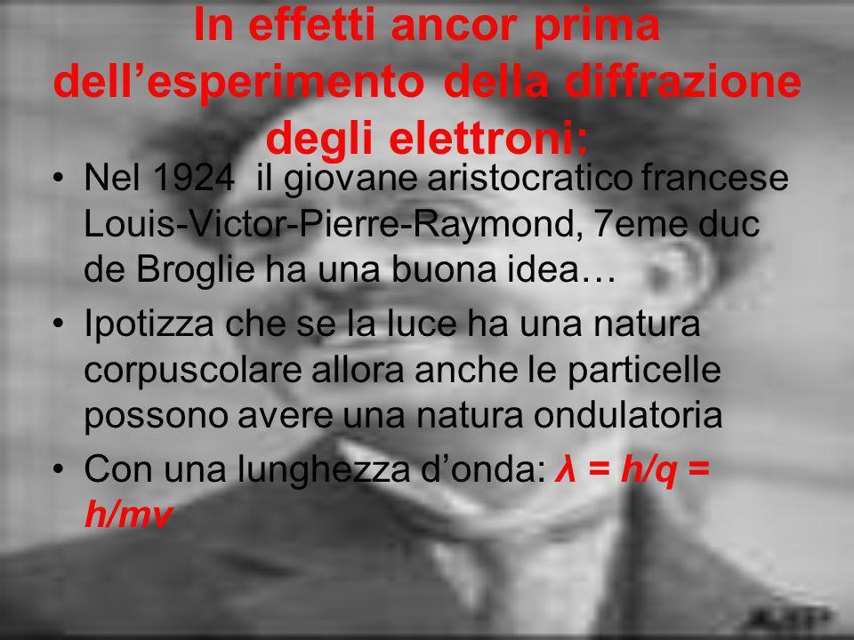 In effetti ancor prima dellesperimento della diffrazione degli elettroni: Nel 1924 il giovane aristocratico francese Louis-Victor-Pierre-Raymond, 7eme