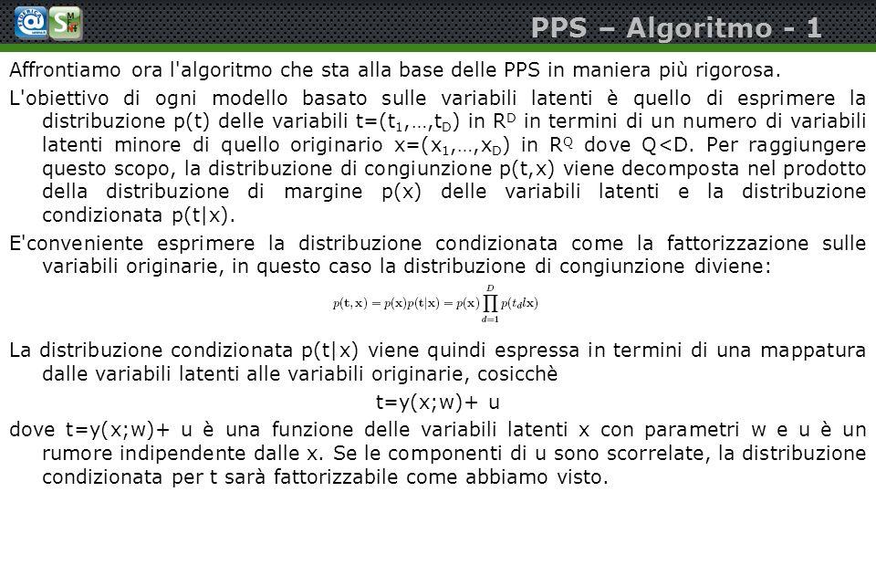 PPS – Algoritmo - 1 Affrontiamo ora l'algoritmo che sta alla base delle PPS in maniera più rigorosa. L'obiettivo di ogni modello basato sulle variabil