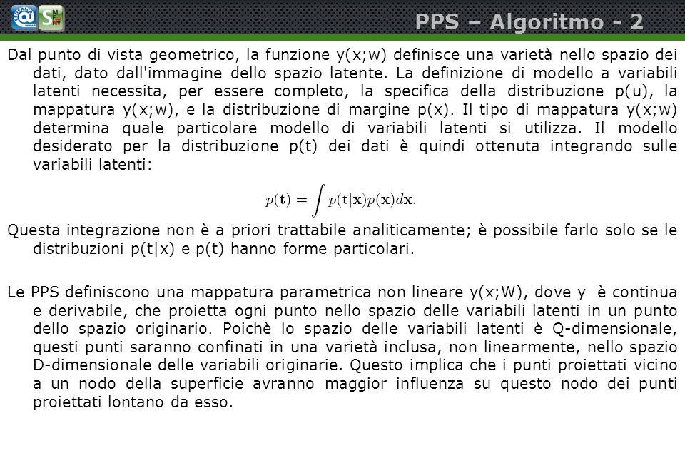 PPS – Algoritmo - 2 Dal punto di vista geometrico, la funzione y(x;w) definisce una varietà nello spazio dei dati, dato dall'immagine dello spazio lat