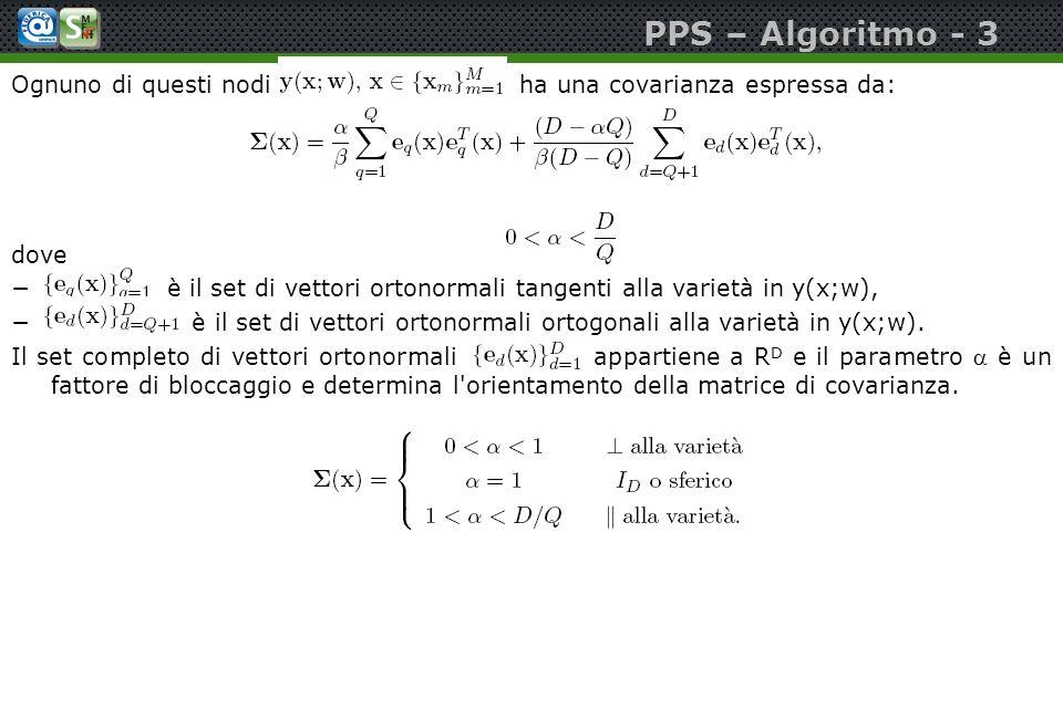 PPS – Algoritmo - 3 Ognuno di questi nodi ha una covarianza espressa da: dove è il set di vettori ortonormali tangenti alla varietà in y(x;w), è il se