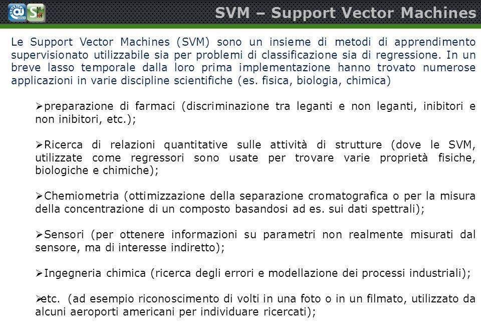 SVM – Support Vector Machines Le Support Vector Machines (SVM) sono un insieme di metodi di apprendimento supervisionato utilizzabile sia per problemi