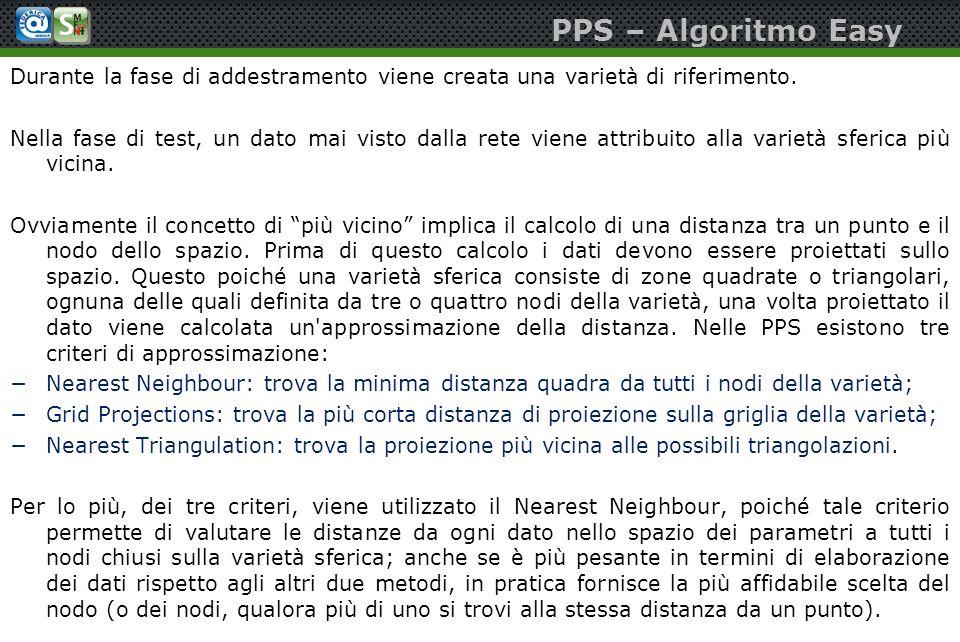 PPS – Algoritmo Easy Durante la fase di addestramento viene creata una varietà di riferimento. Nella fase di test, un dato mai visto dalla rete viene