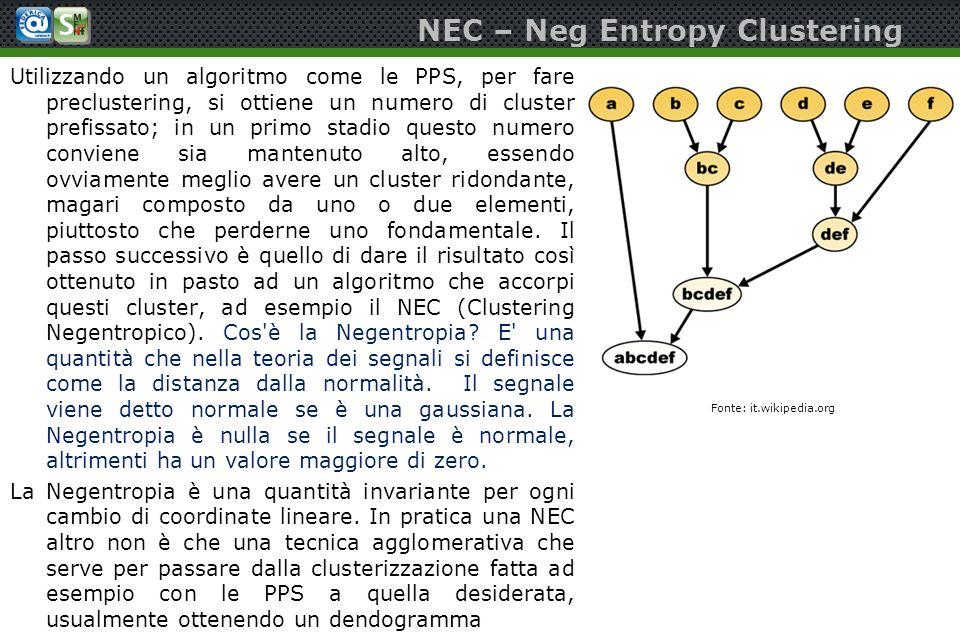 NEC – Neg Entropy Clustering Utilizzando un algoritmo come le PPS, per fare preclustering, si ottiene un numero di cluster prefissato; in un primo sta
