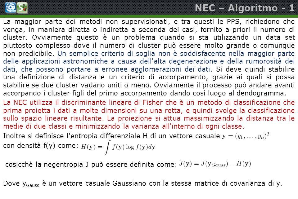 NEC – Algoritmo - 1 La maggior parte dei metodi non supervisionati, e tra questi le PPS, richiedono che venga, in maniera diretta o indiretta a second