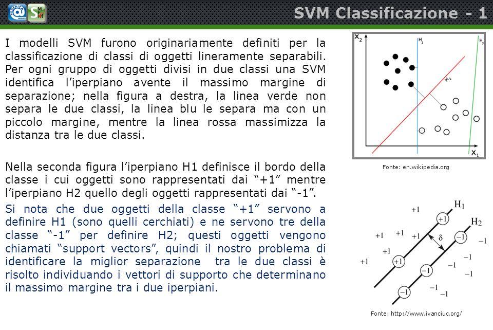 SVM Classificazione - 1 I modelli SVM furono originariamente definiti per la classificazione di classi di oggetti lineramente separabili. Per ogni gru