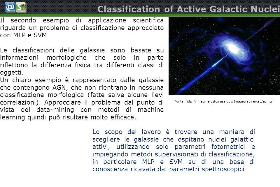 Classification of Active Galactic Nuclei Il secondo esempio di applicazione scientifica riguarda un problema di classificazione approcciato con MLP e