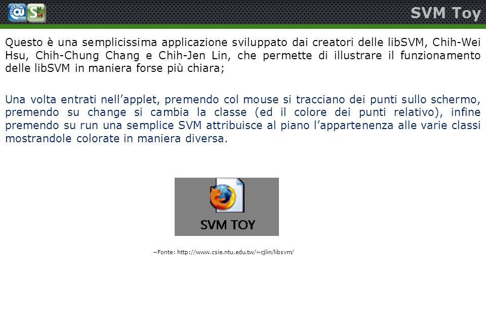 SVM Toy Questo è una semplicissima applicazione sviluppato dai creatori delle libSVM, Chih-Wei Hsu, Chih-Chung Chang e Chih-Jen Lin, che permette di i