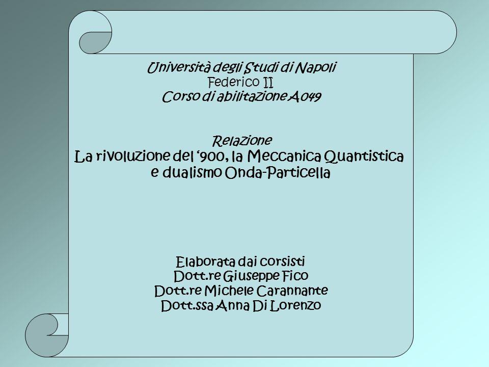 Università degli Studi di Napoli Federico II Corso di abilitazione A049 Relazione La rivoluzione del 900, la Meccanica Quantistica e dualismo Onda-Par
