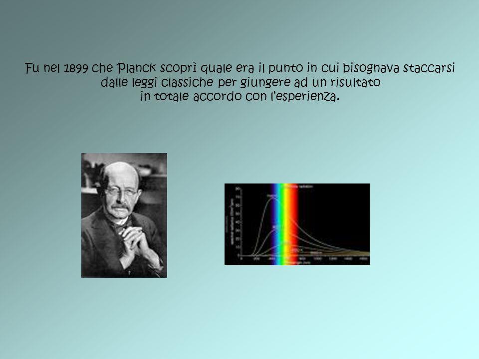 Fu nel 1899 che Planck scoprì quale era il punto in cui bisognava staccarsi dalle leggi classiche per giungere ad un risultato in totale accordo con l