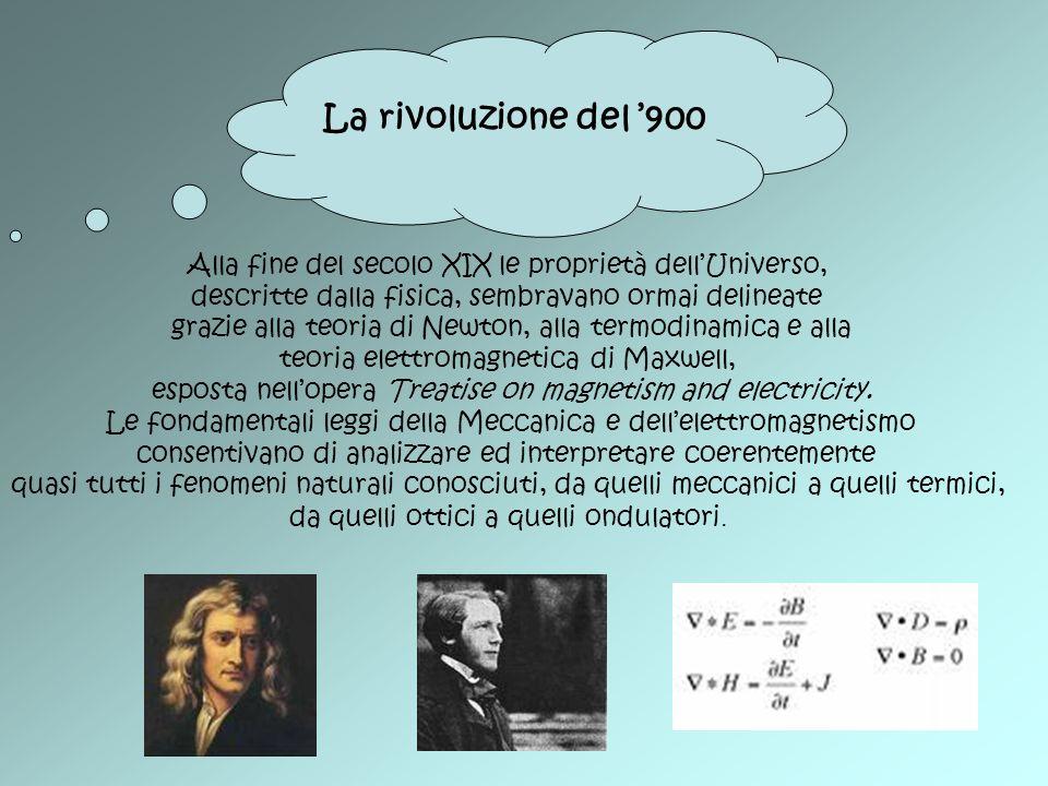 Alla fine del secolo XIX le proprietà dellUniverso, descritte dalla fisica, sembravano ormai delineate grazie alla teoria di Newton, alla termodinamic