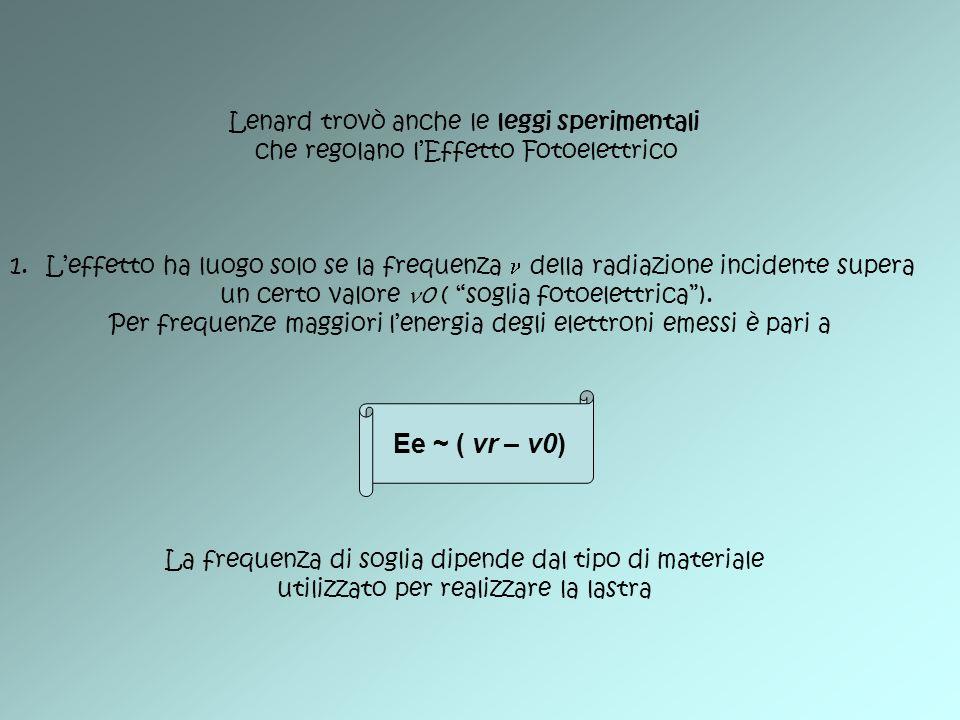 Lenard trovò anche le leggi sperimentali che regolano lEffetto Fotoelettrico 1.Leffetto ha luogo solo se la frequenza della radiazione incidente super