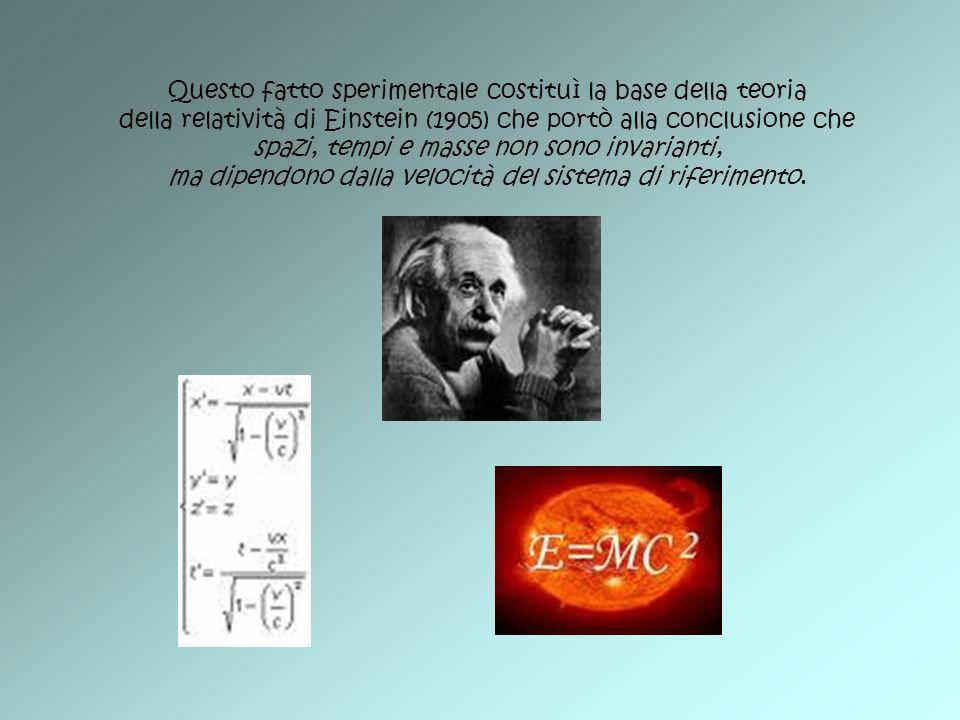 Questo fatto sperimentale costituì la base della teoria della relatività di Einstein (1905) che portò alla conclusione che spazi, tempi e masse non so