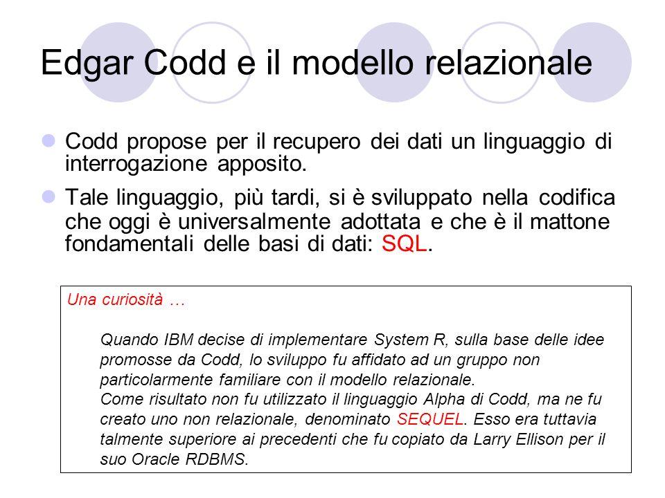 Edgar Codd e il modello relazionale Codd propose per il recupero dei dati un linguaggio di interrogazione apposito. Tale linguaggio, più tardi, si è s