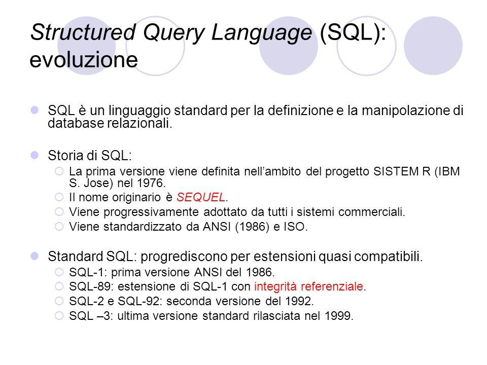 Structured Query Language (SQL): evoluzione SQL è un linguaggio standard per la definizione e la manipolazione di database relazionali. Storia di SQL: