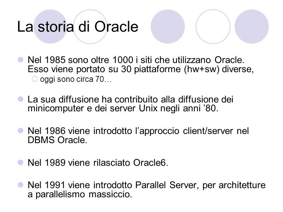 La storia di Oracle Nel 1985 sono oltre 1000 i siti che utilizzano Oracle. Esso viene portato su 30 piattaforme (hw+sw) diverse, oggi sono circa 70… L