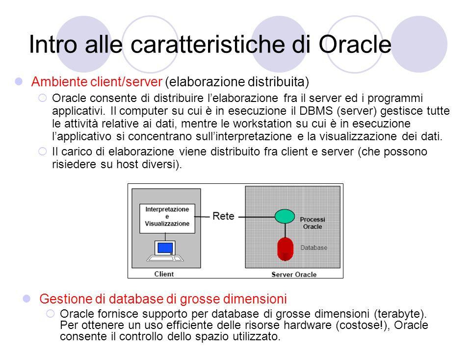 Intro alle caratteristiche di Oracle Ambiente client/server (elaborazione distribuita) Oracle consente di distribuire lelaborazione fra il server ed i