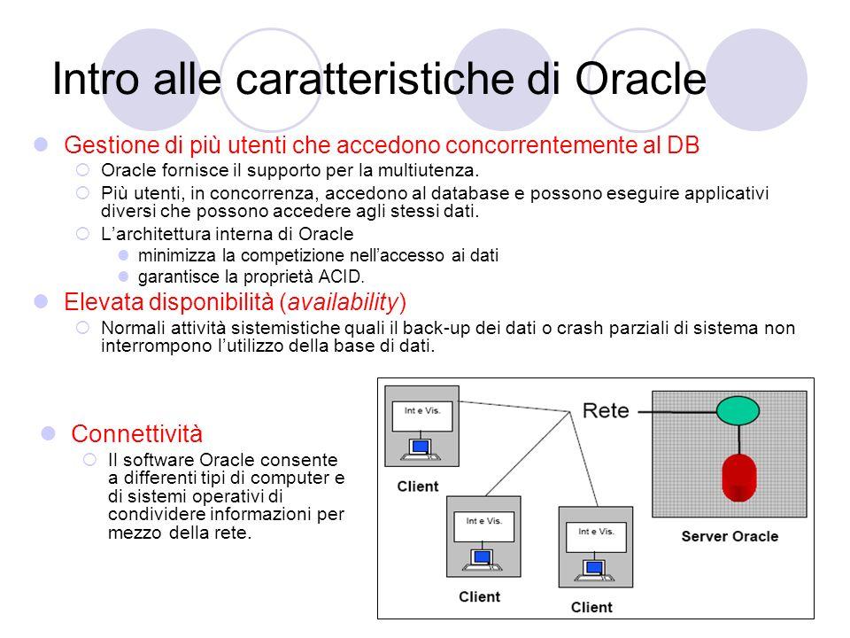 Intro alle caratteristiche di Oracle Gestione di più utenti che accedono concorrentemente al DB Oracle fornisce il supporto per la multiutenza. Più ut