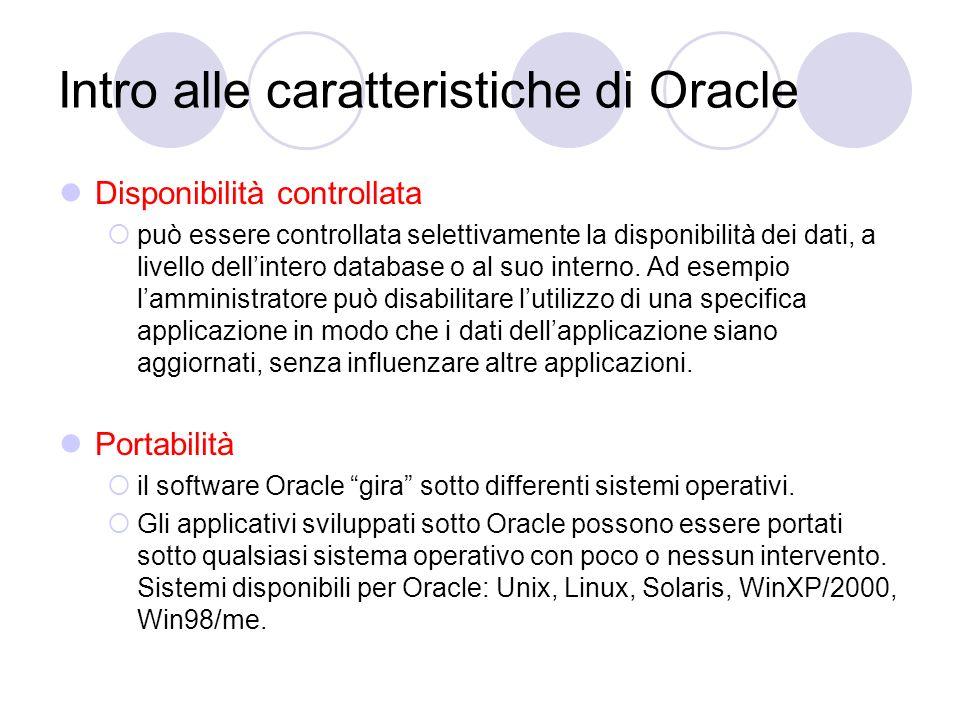 Intro alle caratteristiche di Oracle Disponibilità controllata può essere controllata selettivamente la disponibilità dei dati, a livello dellintero d