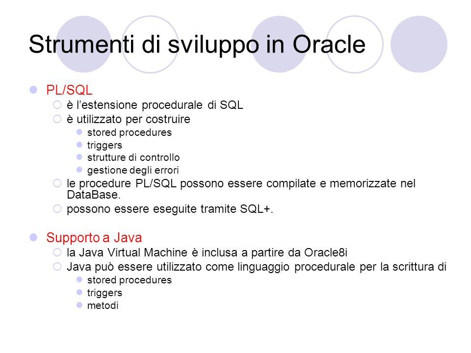 Strumenti di sviluppo in Oracle PL/SQL è lestensione procedurale di SQL è utilizzato per costruire stored procedures triggers strutture di controllo g