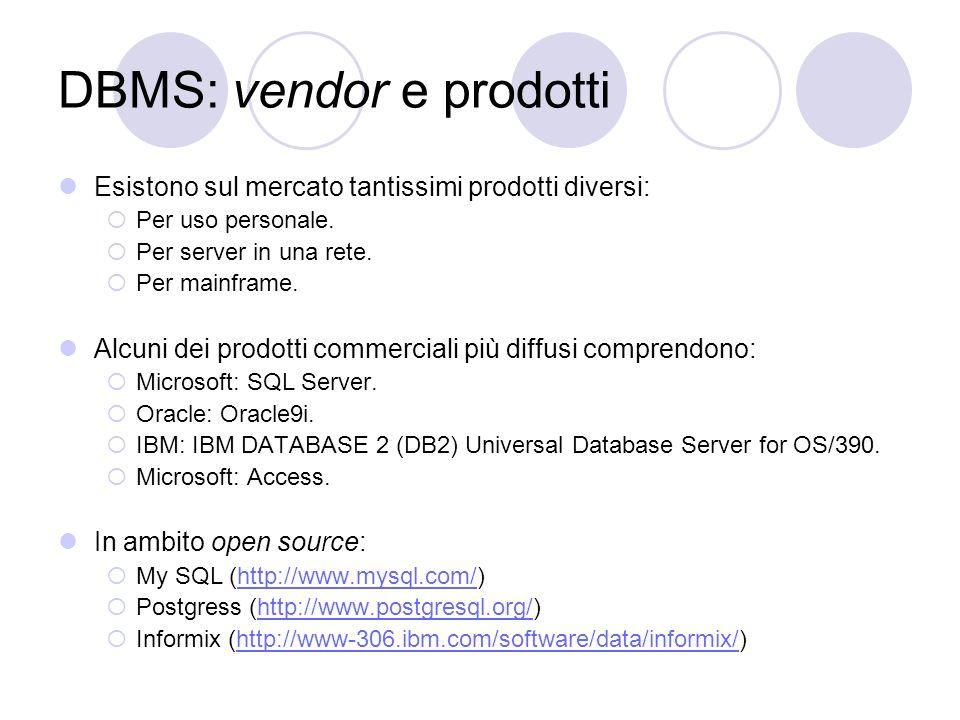 DBMS: vendor e prodotti Esistono sul mercato tantissimi prodotti diversi: Per uso personale. Per server in una rete. Per mainframe. Alcuni dei prodott