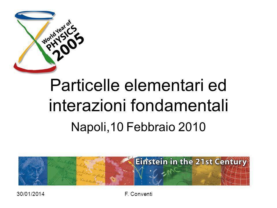 30/01/2014F. Conventi Particelle elementari ed interazioni fondamentali Napoli,10 Febbraio 2010