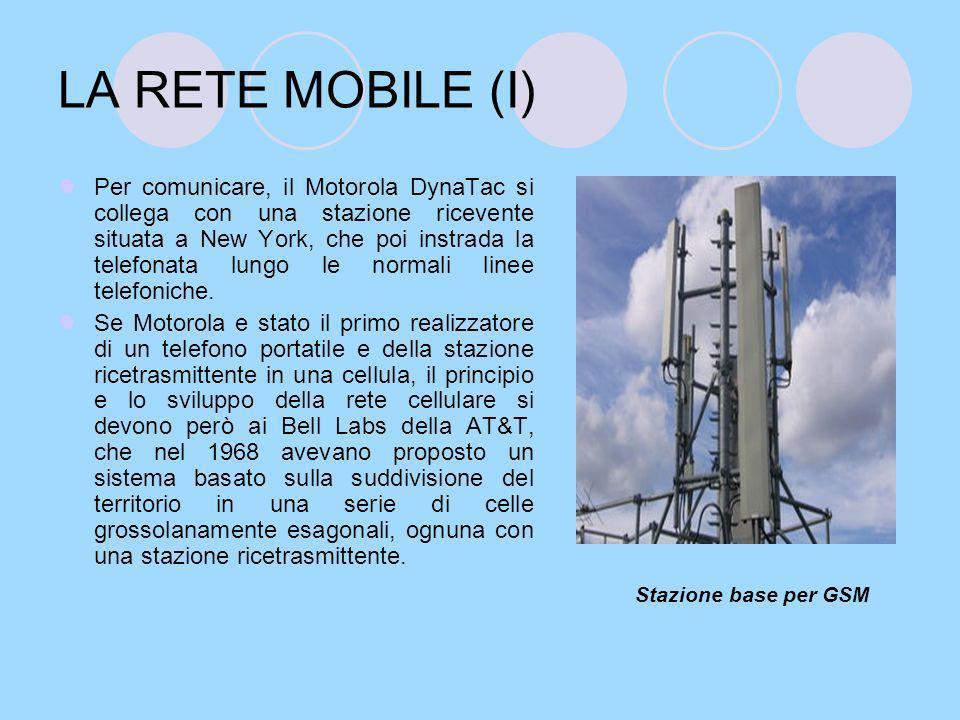 LA RETE MOBILE (II) In questa rete ciascuna stazione e collegata attraverso normali linee telefoniche ad un centro di commutazione per le telecomunicazioni mobili, che ha il compito di dirigere il traffico.