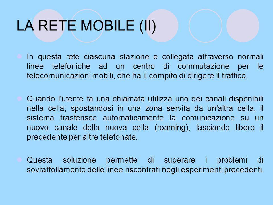 LA RETE MOBILE (III) In Italia il servizio radiomobile venne introdotto dalla Sip nel 1973 ma linstallazione era costosa e la diffusione molto lenta.