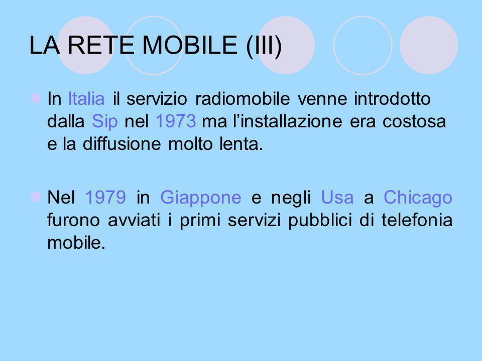 LA RETE MOBILE (IV) Nell aprile 1981 negli Stati Uniti, la Federal Communication Commission, avviò la concessione delle licenze per la telefonia mobile.