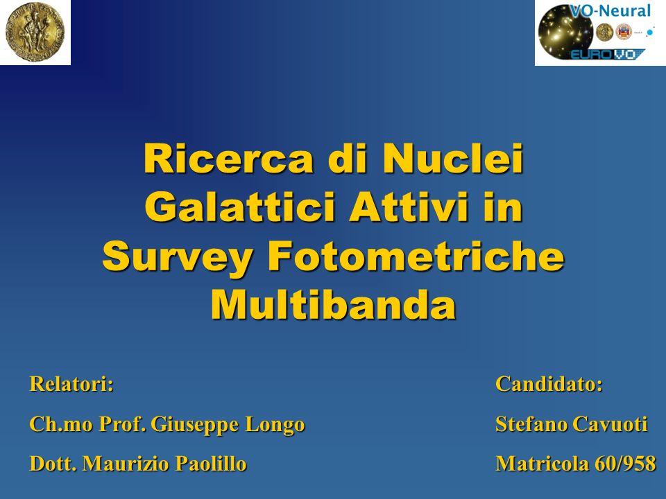Ricerca di Nuclei Galattici Attivi in Survey Fotometriche Multibanda Relatori:Candidato: Ch.mo Prof. Giuseppe LongoStefano Cavuoti Dott. Maurizio Paol