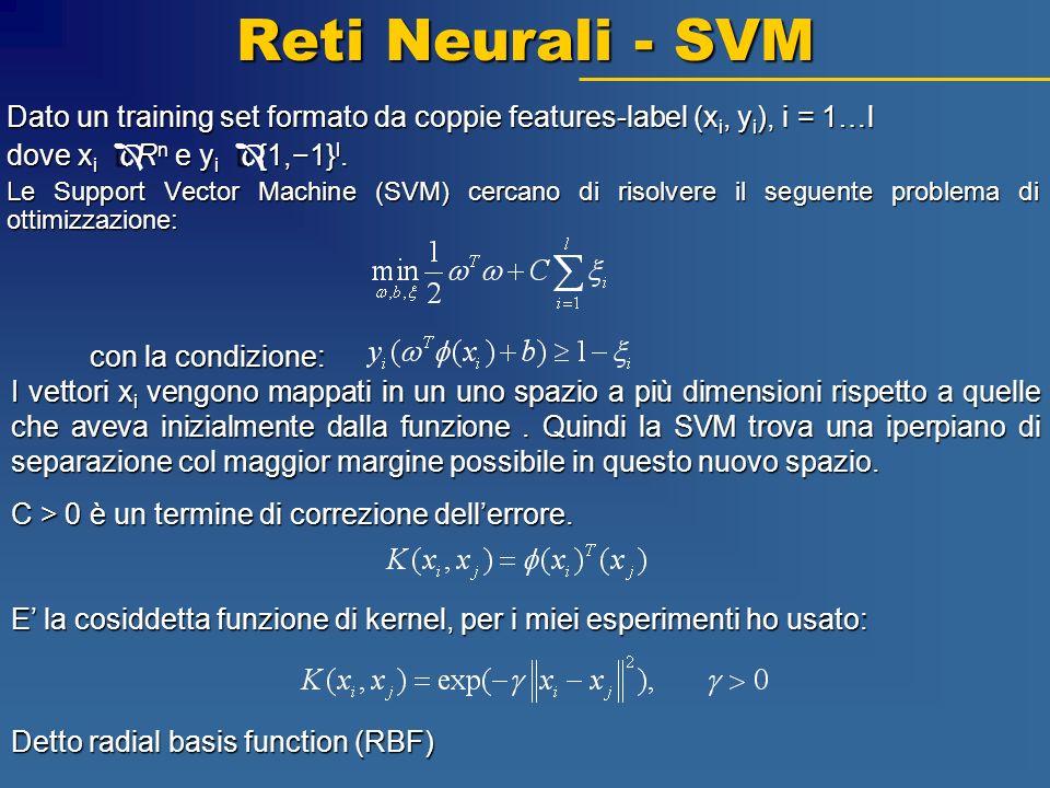 Reti Neurali - SVM Dato un training set formato da coppie features-label (x i, y i ), i = 1…l dove x i Î R n e y i Î {1,1} l. Le Support Vector Machin