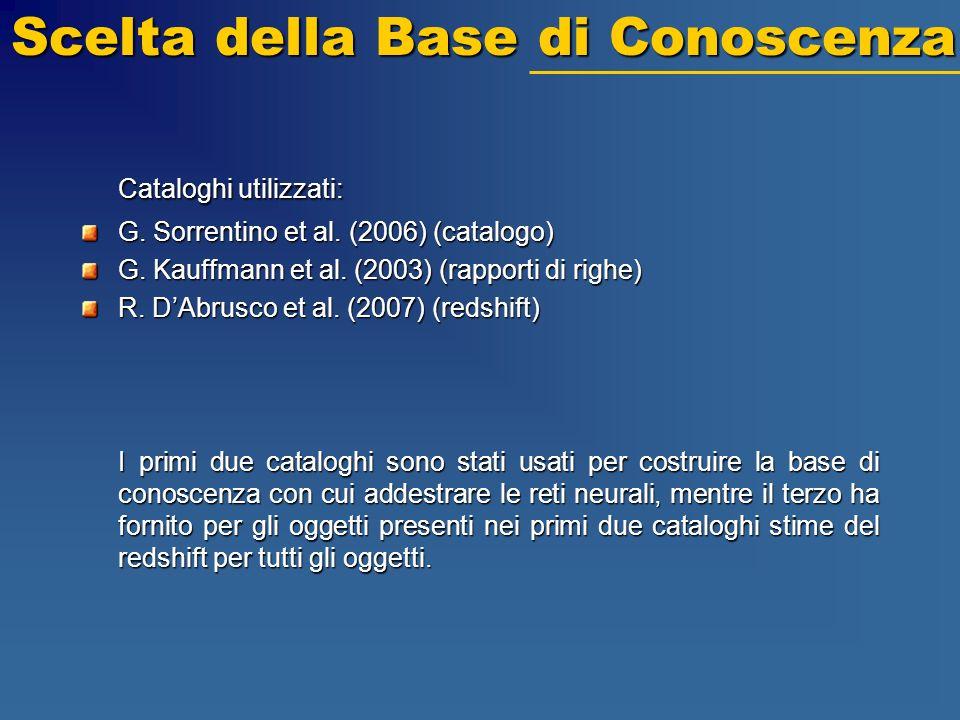 Scelta della Base di Conoscenza Cataloghi utilizzati: G. Sorrentino et al. (2006) (catalogo) G. Kauffmann et al. (2003) (rapporti di righe) R. DAbrusc