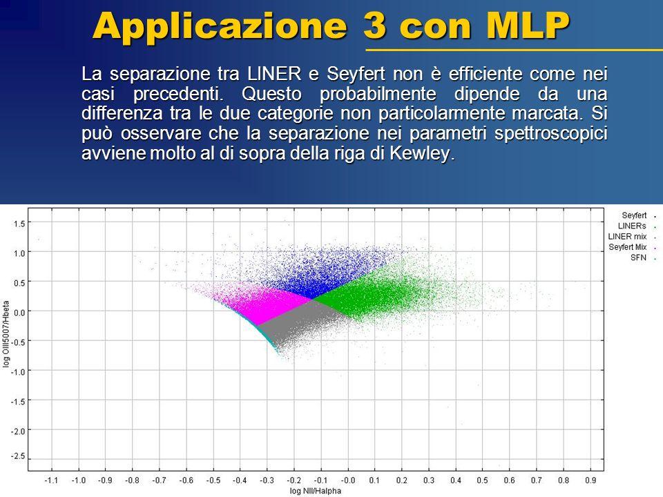 Applicazione 3 con MLP La separazione tra LINER e Seyfert non è efficiente come nei casi precedenti. Questo probabilmente dipende da una differenza tr