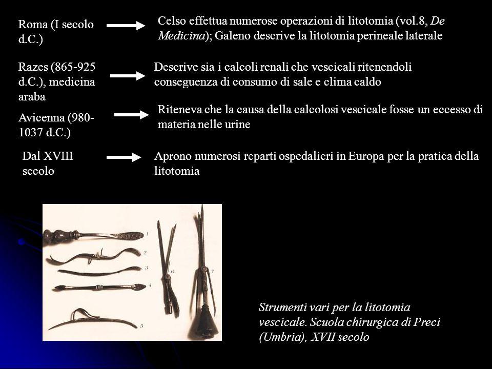 Razes (865-925 d.C.), medicina araba Descrive sia i calcoli renali che vescicali ritenendoli conseguenza di consumo di sale e clima caldo Avicenna (98