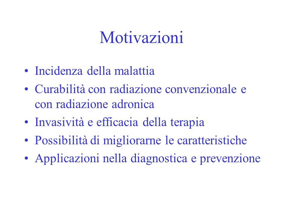 Motivazioni Incidenza della malattia Curabilità con radiazione convenzionale e con radiazione adronica Invasività e efficacia della terapia Possibilit