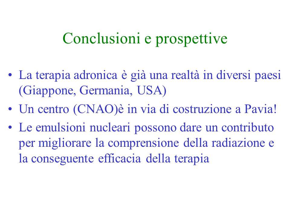 Conclusioni e prospettive La terapia adronica è già una realtà in diversi paesi (Giappone, Germania, USA) Un centro (CNAO)è in via di costruzione a Pa